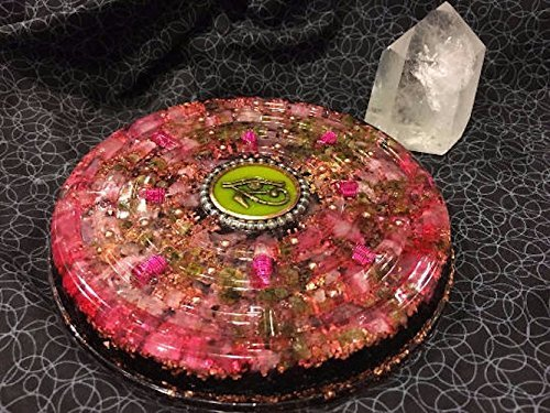Extra Large Orgone Charging Disc with Rose Quartz, Peridot, Rhodizite, Shungite and Eye of Horus, 8 in (Peridot Disc)