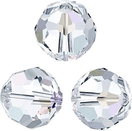 Dreambell 12 pcs Swarovski Elements Crystal 5000 Round Faceted Bead Clear  AB 6mm / Findings/Crystallized Element