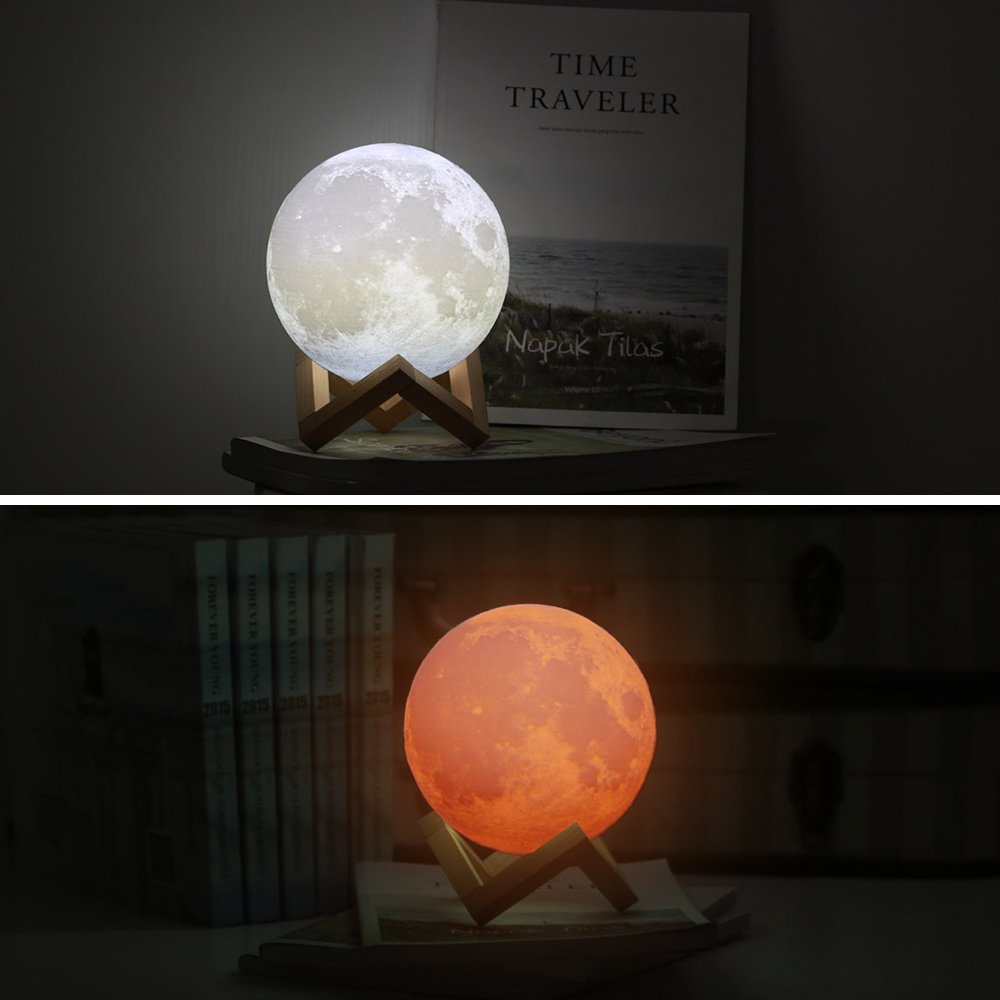 Sunba Youth Moon Night-1 3D Lunar Lamp with Stand, 5.9 Inches Mystical Rechargeable Dimmable Touch Control Lighting Color for Home Decor, 6.96.96.5, Warm Color by Sunba Youth (Image #3)