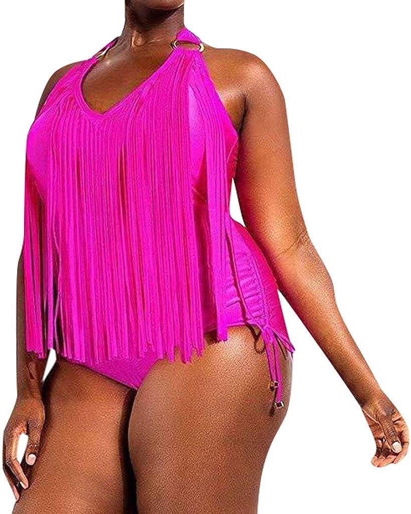 XUEJIN US Women Plus Size One Piece Tassels Bikini Monokini Swimwear Beach Bathing Suit