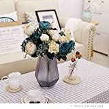 YILIYAJIA 2PCS Vintage Artificial Peony Flowers Bouquet Fake Flower Silk Hydrangea Flowers Wedding Home Outdoor Decor Hotel Party Office Decoration (blue&white, 2)