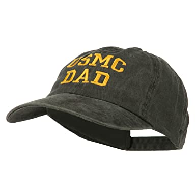 9723aeb776fe7 E4hats USMC Dad Embroidered Washed Cotton Cap - Black OSFM at Amazon ...