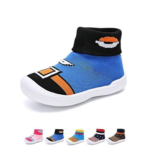 02b43ebd YUHUAWYH Bebé Muchachos Chicas Calzado Antideslizante Calcetines Zapatos  para niños pequeños Caminante Calcetines para niños de 0-6 Meses a 4-5 años:  ...