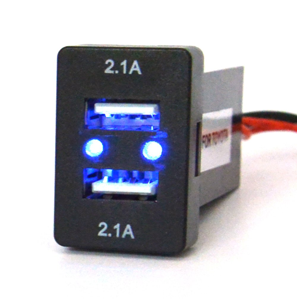 Cllena Toyota 21 21a Dual Usb Charger Power Socket 2014 Sequoia Wiring Diagram Blue Light With Fuse 23ft 42a 2 Cell Phones Accessories
