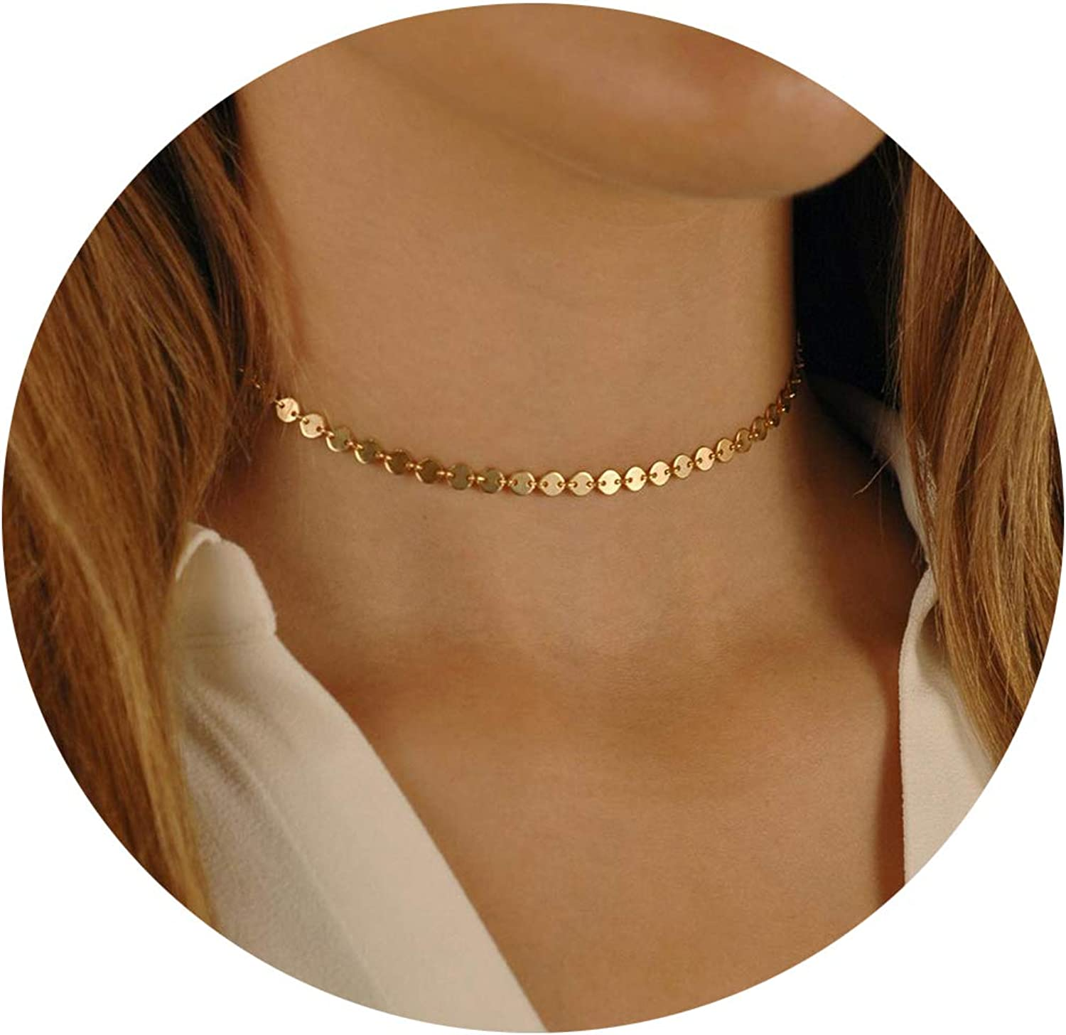 Lcherry Dainty Star Choker Necklace Coin Necklace Circle Disc Pendant Necklace for Women 14K Real Gold Plated