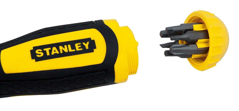 Stanley 0-68-010 Destornillador de carraca multipuntas con 10 puntas, Plata