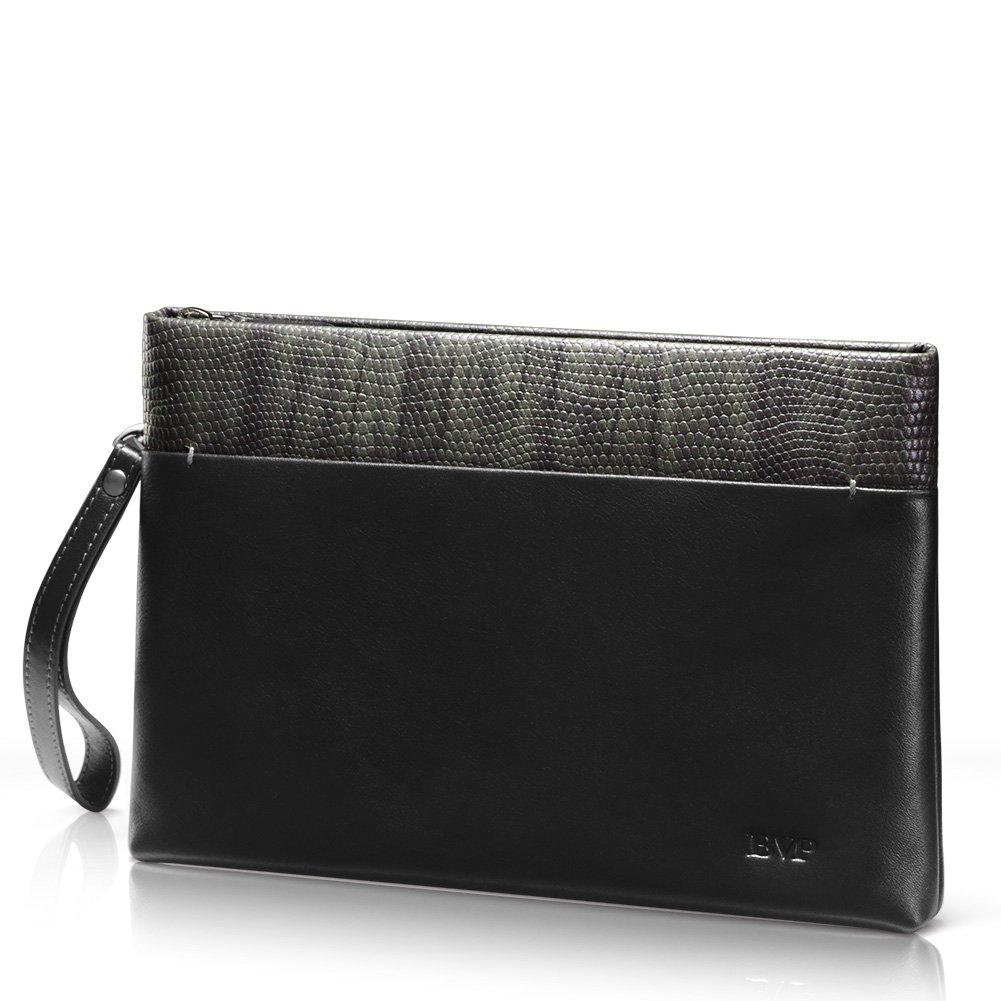 BVP Women's Genuine Leather Clutch Men Wrist Bag Checkbook Phone Wallet Business Handbag (Black) (Black)
