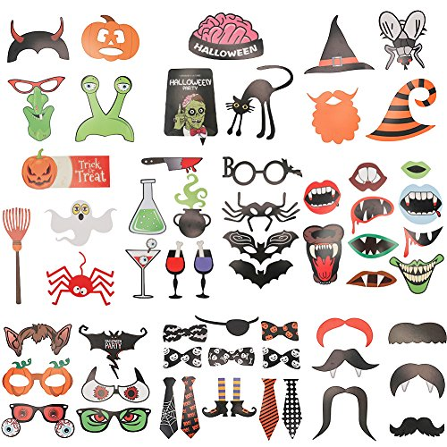 6MILES 59PCS DIY Kit Funny Photo Booth Props Creative Happy Halloween Pose Sign Kit for Party Terror Mask on a Stick Fancy Costume Ball Decoration