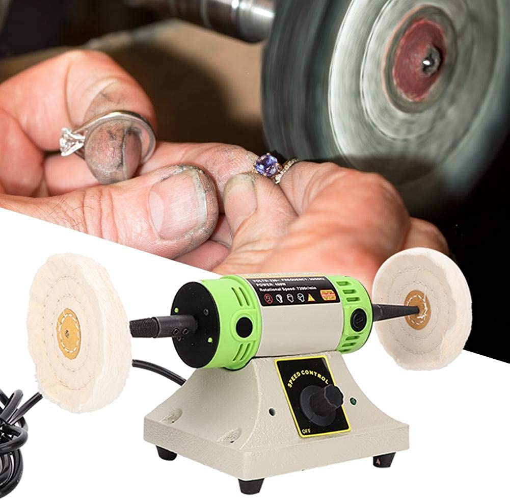 Image of Casting Machines Clina Portable Exquisite Polisher, Bench Polishing Buffer Machine + Jewelry Buffing Machine with 2 Buffing Wheels for Professional Use & Home Use - Fast Rotate Speed Low Noise Stable Performance