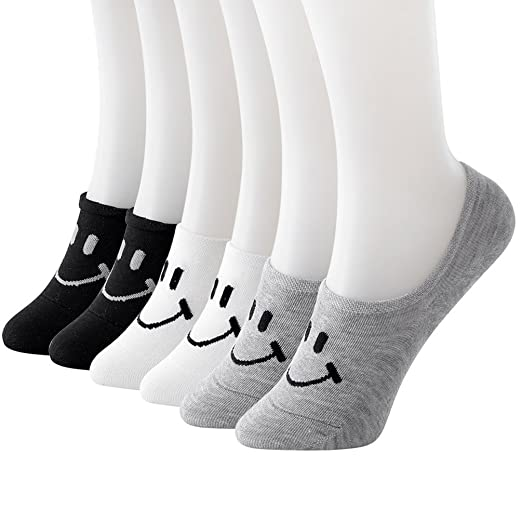 12d7b5f232a52 Image Unavailable. Image not available for. Color: L04BABY Women Girls 5  Pack Low Cut Ankle Liner No Slip Smile Design Loafer Socks