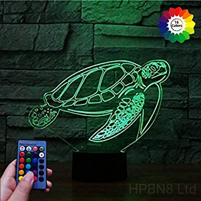 3D Sea Turtle Night Light USB Powered Touch Switch Remote Control LED Decor 3D Lamp 7/16 Colors Changing Xmas Brithday Children Kids Toy Christmas Gift: Home & Kitchen