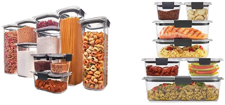 Rubbermaid Brilliance Pantry Organization & Food Storage Containers, Set of 10 (20 Pieces Total) & Brilliance Storage 14-Piece Plastic Lids | BPA Free, Leak Proof Food Container, Clear