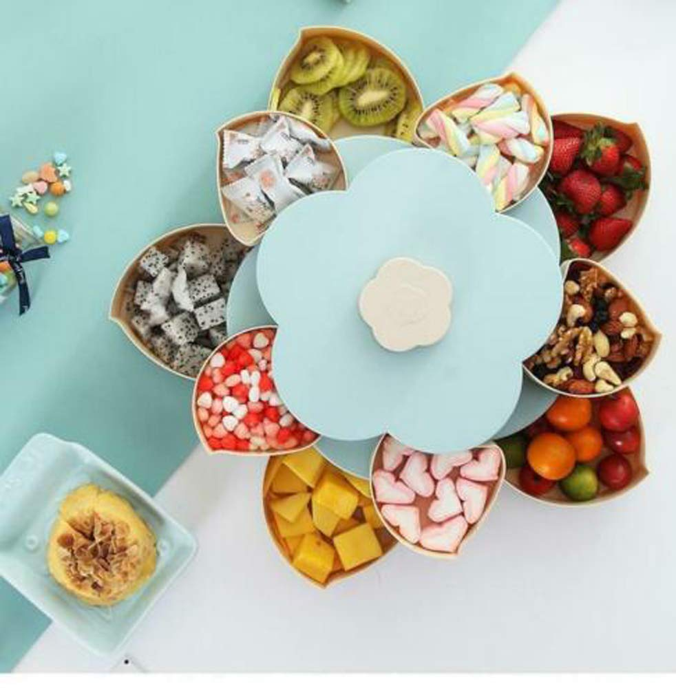 Life-Bloom Snack Box,Snack Tray Petal-Shaped Rotating Candy Box Blue Double