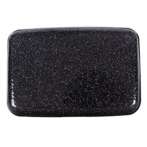 Glitter Bling Aluminum RFID Blocking Wallet Slim Hard Metal Credit Card Holder Black