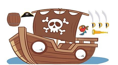 Photocall Barco Pirata 2,95x1,55m | Photocall Infantil con Accesorios de Regalo |