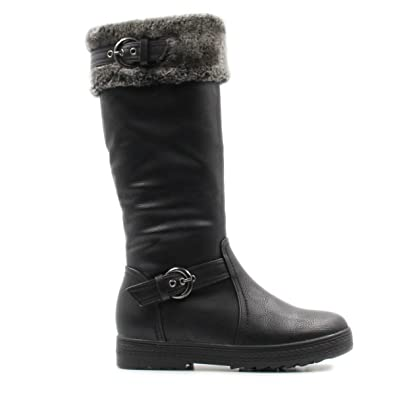 d231de88e Stylish & Comfort Women's Knee High Zipper Up Winter Boots with Fur Lined  Collar and Interior Warm Shoes