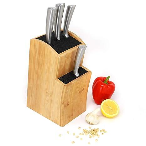 Bloque de cuchillos | Cuchillos de cocina ranurados de bambú | adecuado para todos los cuchillos | Organizador cuchillo de acero | M & W