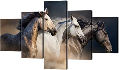 Yatsen Bridge Large Size Wall Art Running Horse Trot On The Field On Sunset Grass and Flower Painting Pictures Print On Canvas Animal The Picture