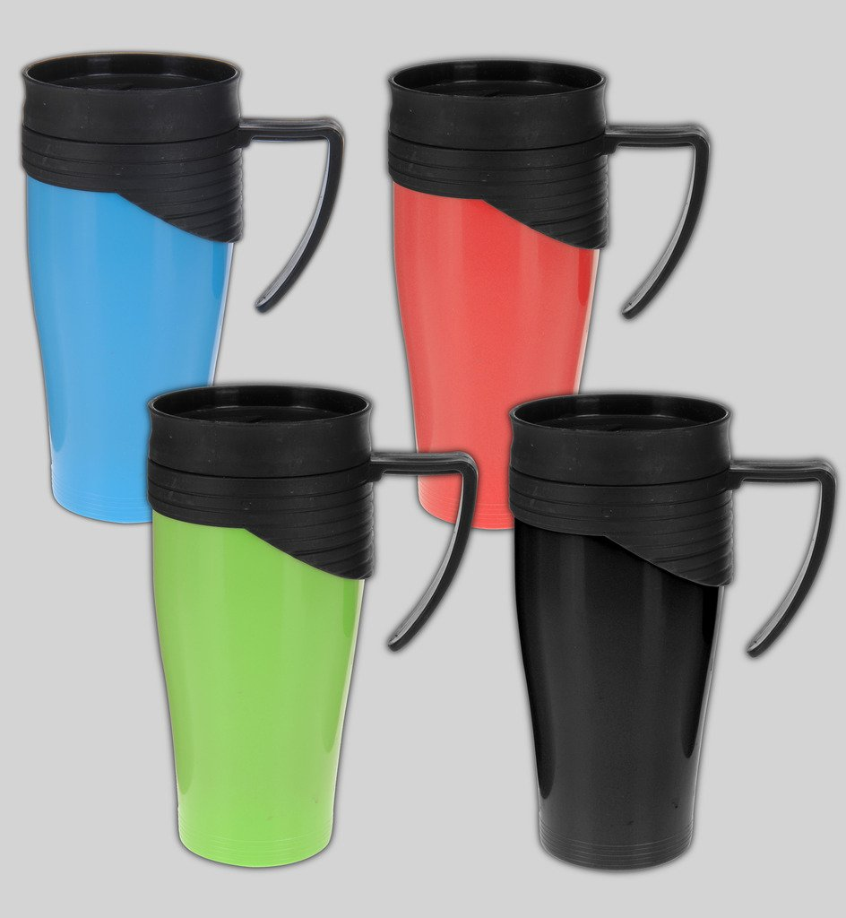 Plastic Travel Mug Coffee Cup Auto Home Work Tea Thermal To Go Hot Cold Drinks