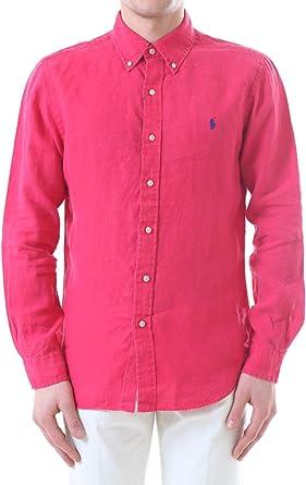 Polo Ralph Lauren Mod. 710654408 Camisa Piqué Slim Fit Hombre Rojo M: Amazon.es: Ropa y accesorios