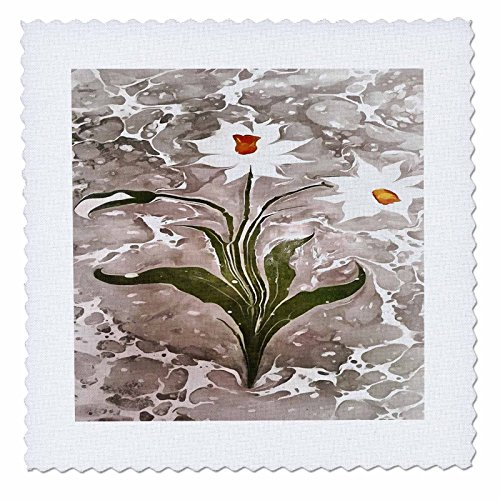 Taiche - Acrylic Painting - Narcissus - Narcissus On Marble - 25x25 inch quilt square (qs_252000_10) (25
