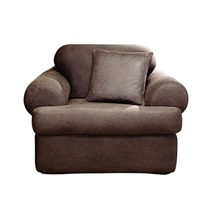 Surefit Stretch Leather 2 Piece Chair Slipcover Brown