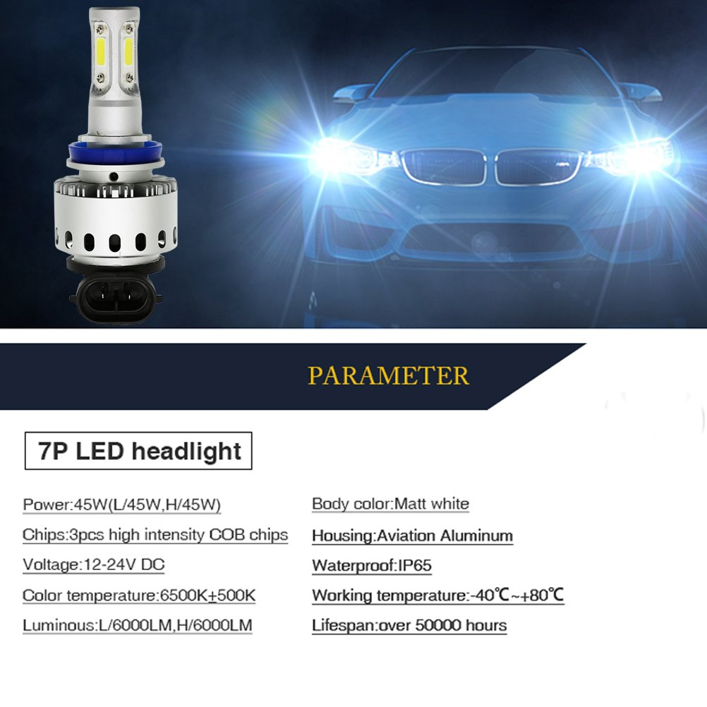 Ralbay 2x H8 H9 H11 LED Faro Bombillas Alquiler de luces LED 90W 12000Lm LED lámpara con la viruta del COB para el coche vehículo: Amazon.es: Coche y moto