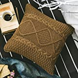 Andaa 18'' x 18'' Decorative Pillow Covers Double-Cable Knitted Pillow Cover Case for Home Decor Bedroom Car (Coffee, Cover Only)