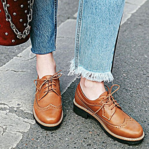 Low Oxfords Brown IDIFU Top Lace Round Cut Shoes Women's Chunky Low Low Up Heeled Toe Casual OrqPZwO