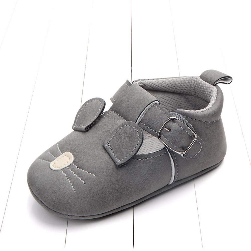Alamana Cute Rabbit Pig Mouse Infant Baby Faux Leather Soft Sole Prewalker Toddler Shoes Coffee Rabbit 13cm