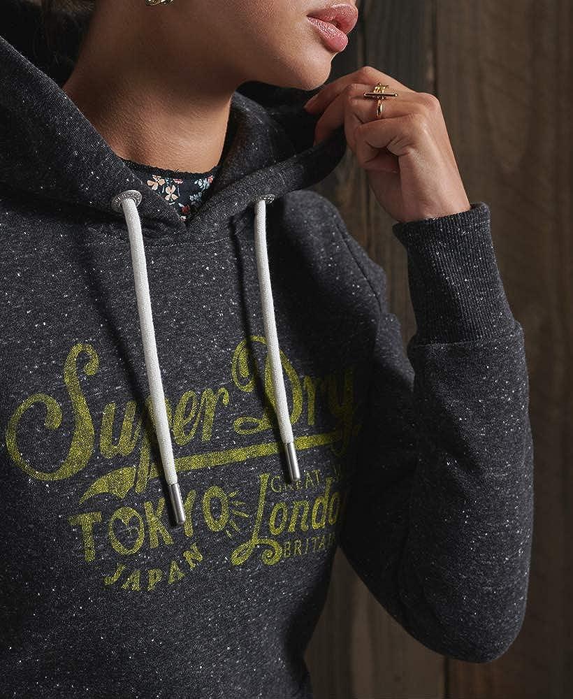 Superdry Damen Rw Classics Hood Hooded Sweatshirt Schwarz Meliert