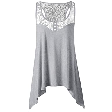 90ff73a77818c0 Pingtr Summer Irregular Lace Stitching Tank Top for Women S - 2 XL, Women  Loose Sleeveless Tank Top Ladies Casual T Shirts Tops: Amazon.co.uk:  Clothing