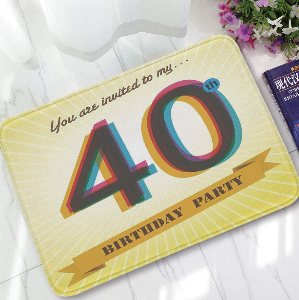 YOLIYANA Water Absorption Non-Slip Mat,40th Birthday Decorations,for Corridor Study Room Bathroom,15.75''x23.62'',Vintage Graphic Banner Party Invitation Theme