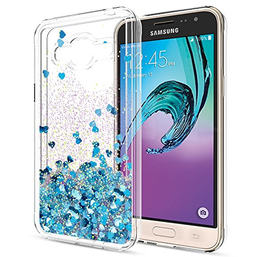 Galaxy J3 V / J3V Case,Galaxy Sky/Amp Prime/Express Prime / J3 (2016) 6 / Sol Liquid Case with HD Screen Protector,LeYi Girls Shiny Glitter Clear TPU Protective Case for Samsung J3 ZX Blue