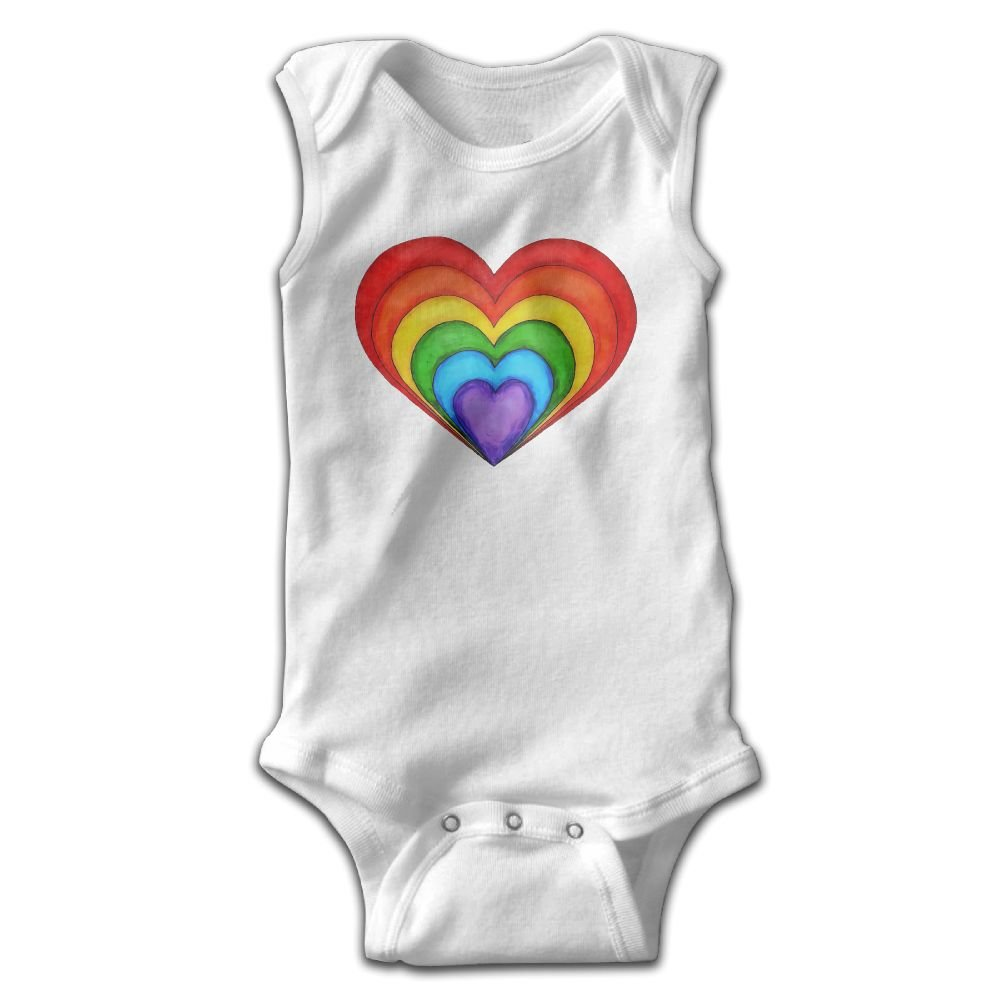 Xgnzyq Rainbow Heart Gay Pride Cute Infant Baby Girl Sleeveless Toddler Climb Jumpsuit|Crawling Clothes