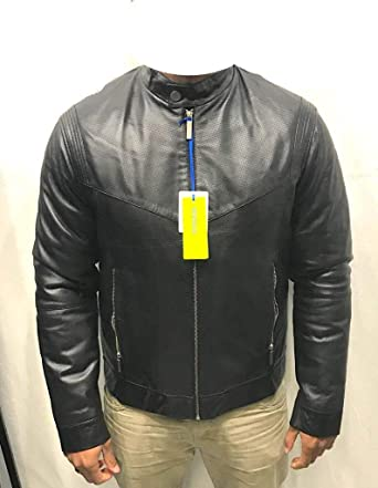 07c5408fc09 Versace Jeans - Veste-Blouson Cuir Homme Model ECGQA9P1 Sheep Low Napa Noir  (50
