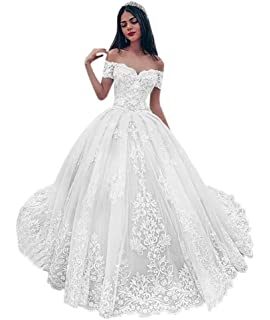 Amazon Com Fanciest Women S Lace Wedding Dresses For Bride 2020 Ball Gowns White Clothing,Wedding Guest Zara Evening Dresses