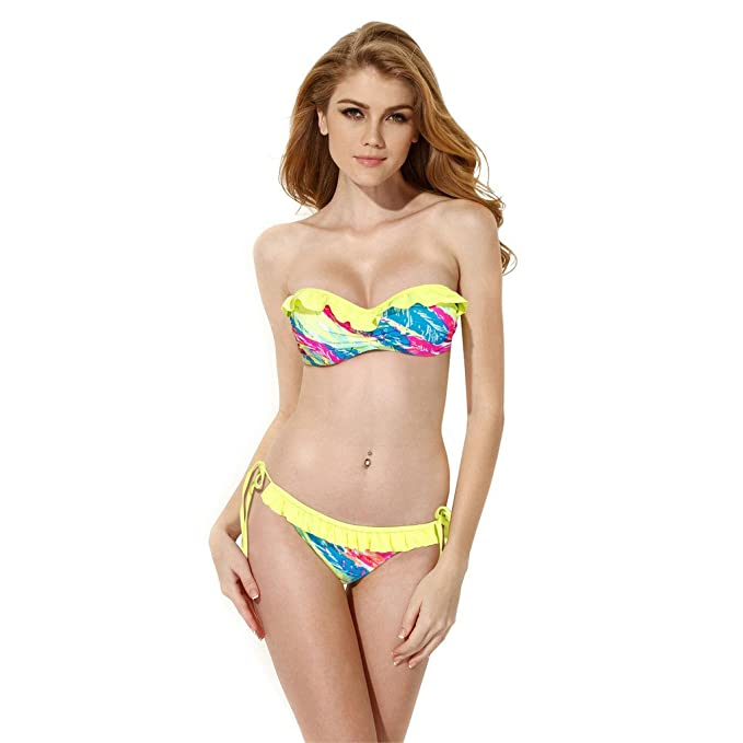 71b907286f Colloyes Women Bikini Push Up Swimsuit Add 2 Cups Swimwear Ruffle Decor:  Amazon.co.uk: Clothing