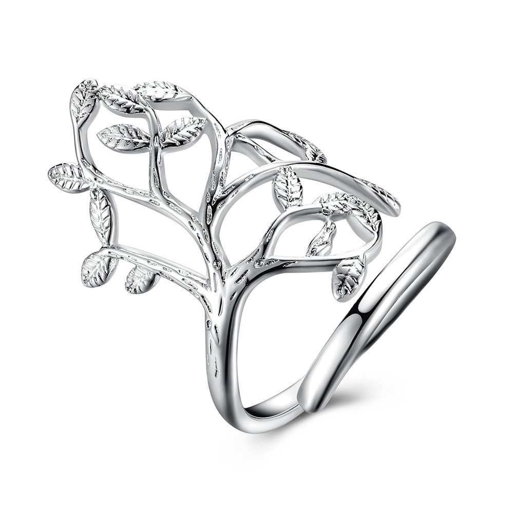 Family Tree of Life Wedding Band Engagement Ring 925 Sterling Silver Plated Gift For Women Mom Girl by Mrsrui