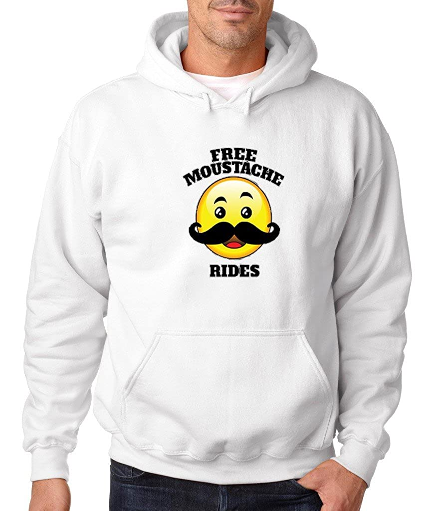 VISHTEA Free Mustache Rides Hoodie Funny Emoji Free Rides Sweatshirt