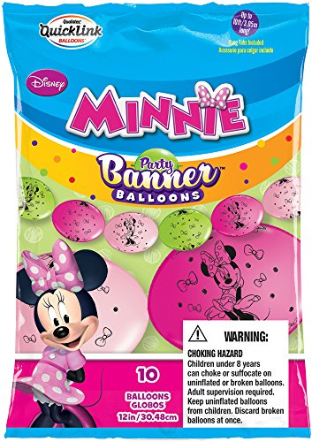 Party Banner Balloons 10 Count Minnie Mouse QuickLink Banner Balloons, 12-Inch