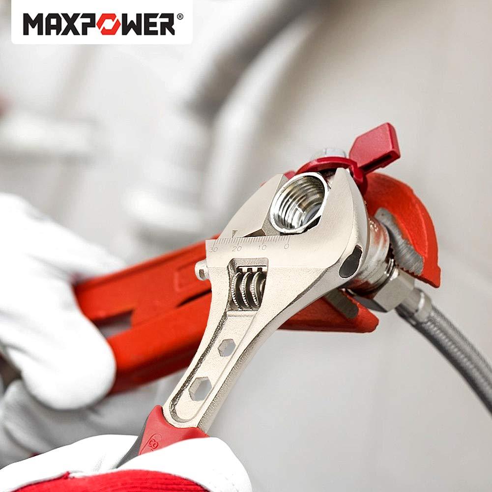 8in Cl/é /à molette Acier Chrome-vanadium Adjustable Wrench M/étal poign/ée ergonomique