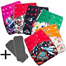 Daisy Ananbaby 6 X Baby Reuseable Washable Adjustable Pocket Cloth Diapers Set Comes with TWO Free 4-Layeres Bamboo Charcoal Inserts