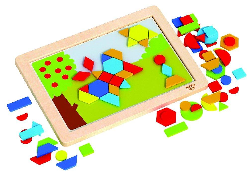 Tooky Toy - Lavagna magnetica con fogli di sfondo intercambiabili - Forme geometriche magnetici in legno Ltd.