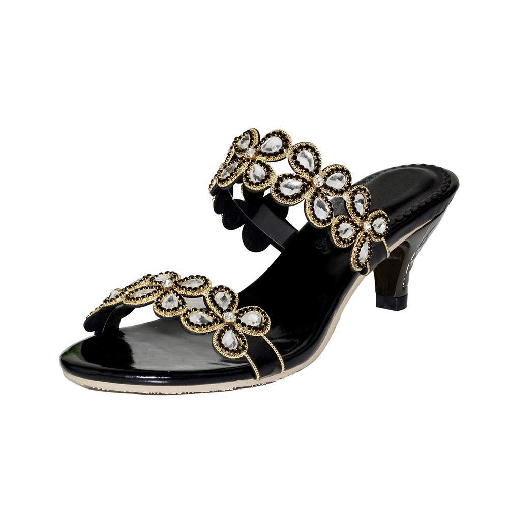 Black Women's Rome Low-Heeled Open Toe Slippers Shining Rhinestone Flower Decoration High Heel Slippers Party Dress Sandals