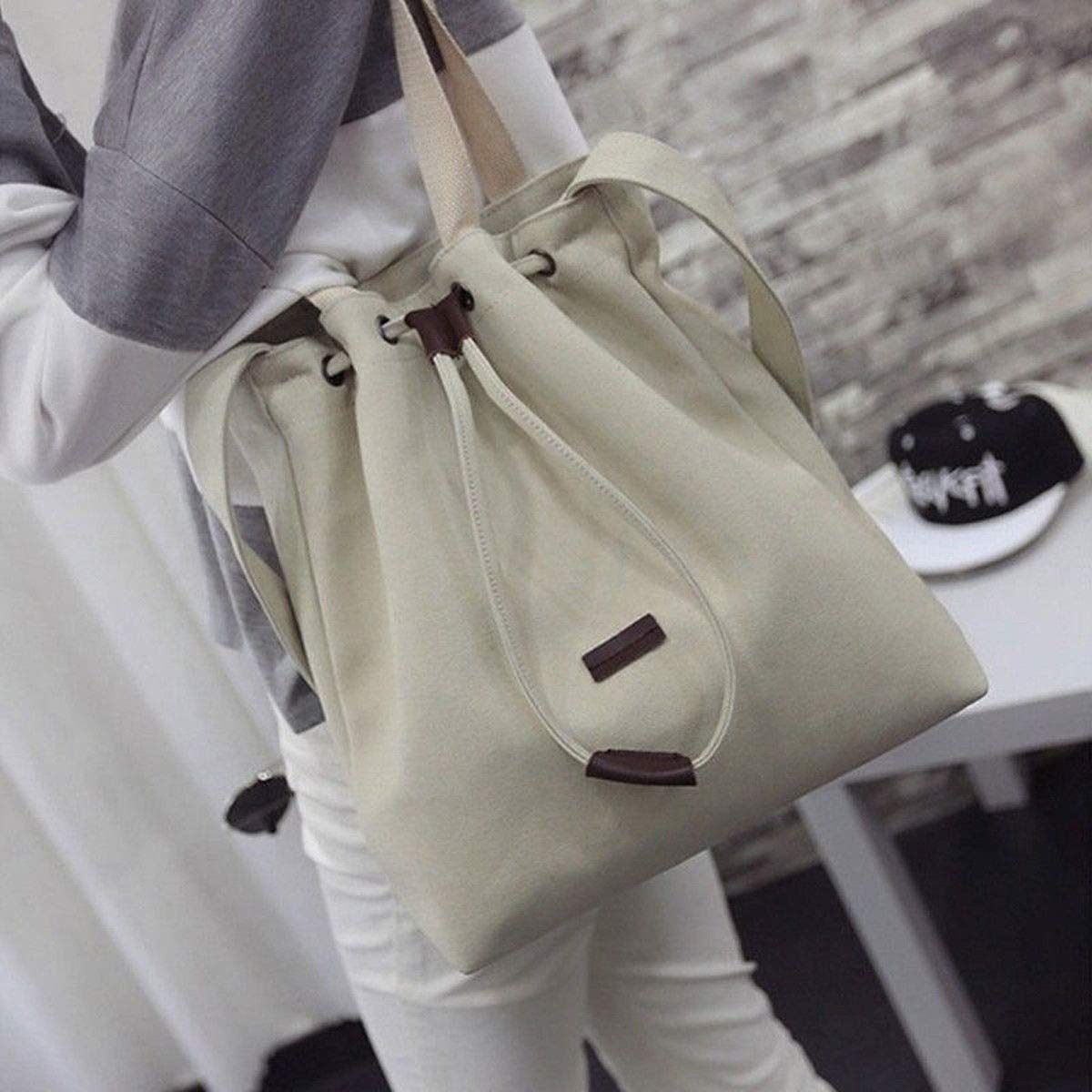 White Women Lady Shoulder Bags Canvas Messenger Hobo Satchel Tote Handbag #SENH