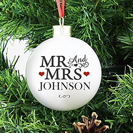 personalised mr mrs christmas bauble tree decorations first