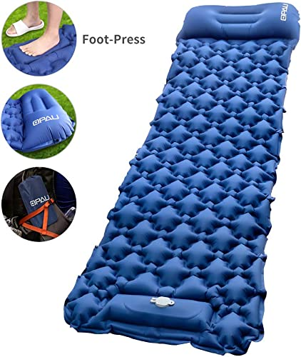 QPAU Camping Sleeping Pad Mat with Built-in Pump, Inflatable Sleeping Pad for Camping, Hiking, Backpacking