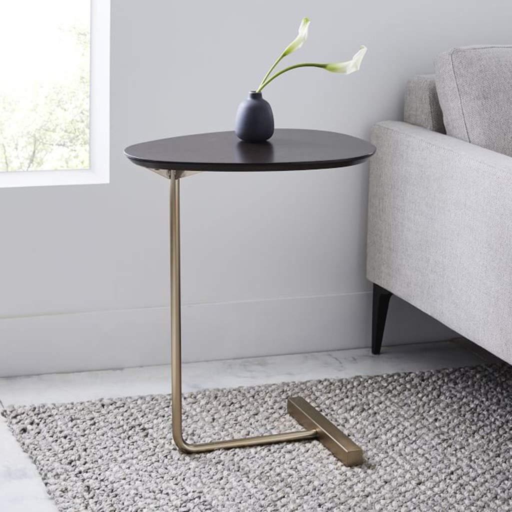 ZDNALS Bedside Table,Oval Living Room Sofa Side Coffee Table Bedroom Corner Several Modern Lazy Bedside Table Bedside Table (Color : Black)