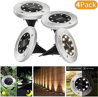 4Pcs Luces de Tierra Solares, Lacyie 8 LED Lampara Solar Jardin Impermeable Lámpara en el Exterior Luz Enterrada del Jardín Decoración de Patio Lawn (4Piezas) (Blanco Cálido 4Pcs): Amazon.es: Iluminación